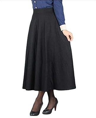 Andopa Women Fall Plaid Classics Woolen Vintage High Rise Maxi Skirt