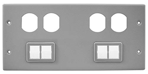 Hubbell Wiring Systems HBL47472BBTTGY Steel Metal Raceway Two Duplex Receptacle/Ortronics TracJack Mini Adapter Bezel Cover Plate, 4 Gang, 10-7/32