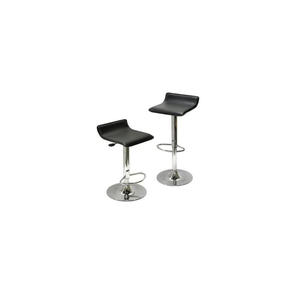 Contemporary Chrome Air Lift Adjustable Swivel Stools with Black Seat, Set of 2