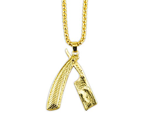 MD Barber Gold Straight Razor Necklace (Textured) with Rolo Chain and Key Ring