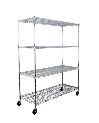 "SafeRacks NSF Certified Commercial Grade Adjustable 4-Tier Steel Wire Shelving Rack with 4"" Wheels - 24"" x 60"" x 72"" (24""x60""x72"" 4-Tier)"