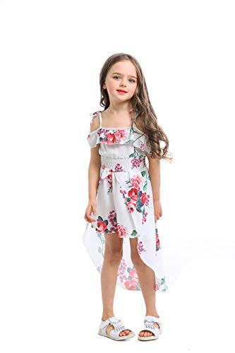 - NoNoAnt Kids Girls Summer Sling Sweet Floral Dress Elegant Girl Princess Ruffles Irregular Culotte Dresses 3 - Year (White, 8T)
