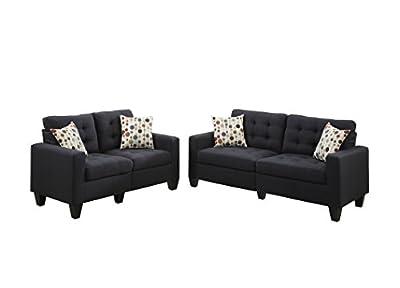 Poundex F6903 Bobkona Windsor Linen-Like 2 Piece Sofa and Loveseat Set, Black