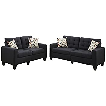 Poundex F6903 Bobkona Windsor Linen Like 2 Piece Sofa And Loveseat Set Black