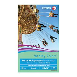 Xerox(R) Vitality Colors(TM) Multipurpose Printer Paper, Legal Size Paper, 20 Lb, 30% Recycled, Green, Ream of 500 Sheets by Xerox