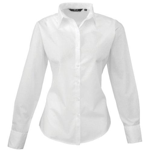 Premier Workwear PR300Mujer Negocio Hospitalidad Barwear Manga Larga Popelina Camisa blanco 18