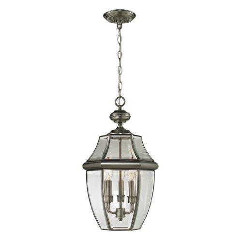 Three Light Exterior Hanging - Cornerstone Lighting 8603EH/80 Ashford 3 Light Exterior Hanging Lantern, Antique Nickel