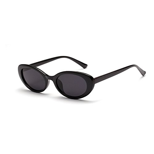 Bold Retro Thick Frame Clout Goggles Oval Mod Lens Candy Eye Sunglass by MAFAGE (Black) (Black Oval Sunglasses)