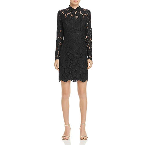 Betsey Johnson Cocktail Dresses - Betsey Johnson Womens Crochet Lace Scalloped Cocktail Dress Black 8