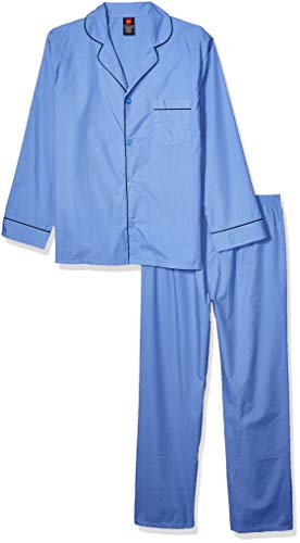 Hanes Men's Long Sleeve Leg Pajama Gift Set,  Blue,  Large, Medium Blue Solid, Large
