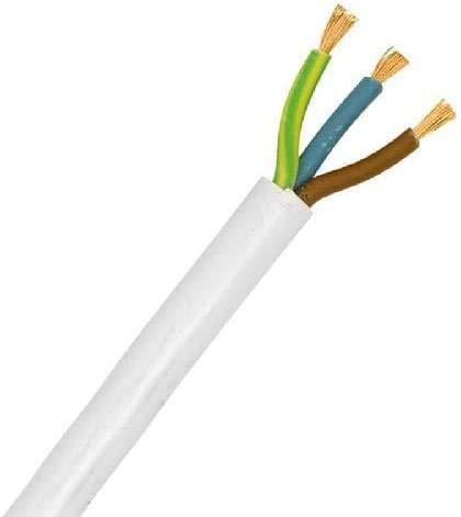 C/âble flexible en PVC Noir C/âble /électrique rond en PVC cuivre R/ésistance /à haute temp/érature 3 fils x 1,5 mm2-15 A 1 m 3183Y