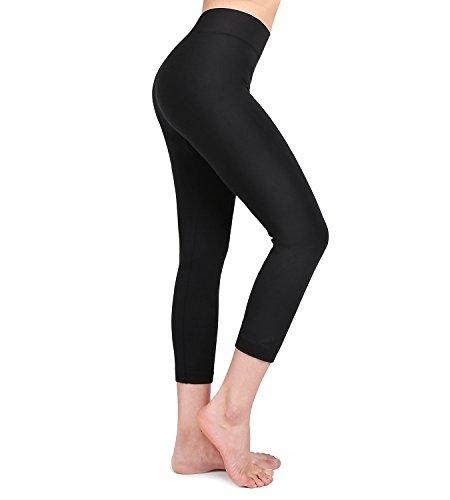 - Moon Wood Extra Soft Capri Leggings for Women with High Waist Black - S/M