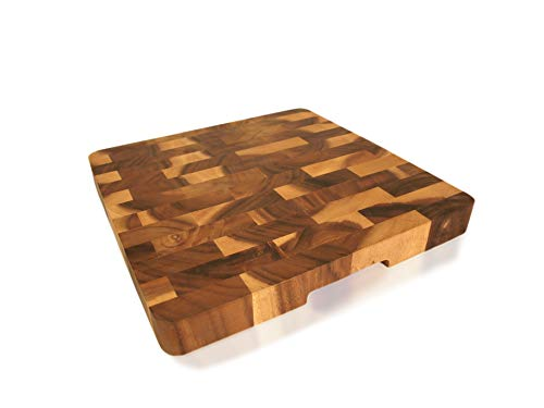 (roro Wood Square End-Grain Chef Cutting Board, 14 Inch Acacia)