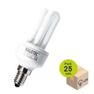 HALOTEC Pack 25 Bombillas Bajo Consumo Micro con rosca fina E14 230V 11W 4200K: Amazon.es: Iluminación