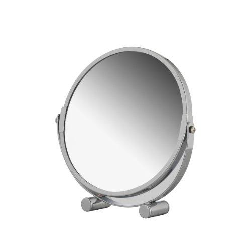 Axentia Vergrößerungs-Standspiegel, Kosmetikspiegel, Badezimmerspiegel verchromt, rund ca. 17 cm Ø, 3-fache Vergrößerung, Rasierspiegel ideal für alle Feuchträume
