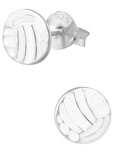Hypoallergenic Sterling Silver Volleyball Sports Stud Earrings for Kids (Nickel Free) - Sterling Silver Volleyball