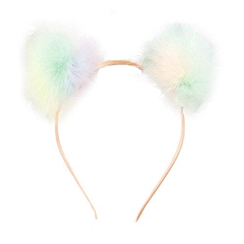 Funbase Kids Girls Colorful Pompom Ball Headband Fluffy Warm Faux Fur Hairband