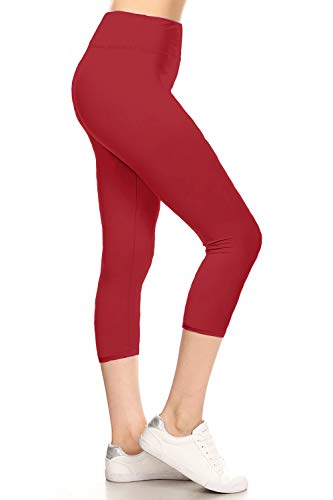 (LYCPR128-TANGORED Yoga Capri Solid Leggings, One Size)