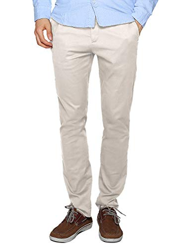 (Match Men's Slim Tapered Stretchy Casual Pants (32, 8114 Off White))