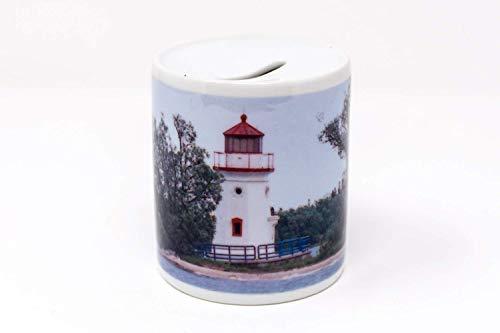 (Cheboygan Crib Lighthouse Design Coin Bank, Hand Imprinted Photo, Ceramic)