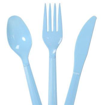 Plastic Utensils, 48-ct. Packs (16 Forks, 16 Spoons & 16 Knives) (Light Blue, Plastic Utensils 48 Ct. Packs) (Utensil Plastic)