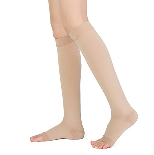 Knee High Compression Stockings, TOFLY Firm Support 20-30mmHg Opaque Maternity Pregnancy Compression Socks, Open-Toe, Ankle & Arch Support, Swelling, Varicose Veins, Edema, Spider Veins. 1Pair Beige - Knee Toe Open Support Stockings