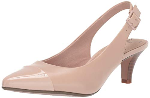 CLARKS Women's Linvale Emmy Pump, Dusty Pink Leather/Synthetic, 8 M US