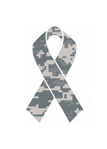 "Camouflage Camo Military Ribbon ""Salute To Service"" Helmet Decal Sticker Full Mini Perfect For: Football, Baseball, Hockey, Lacrosse, Bike"