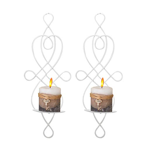 Wall Sconce Tea Light Candle Sconces Elegant Swirling Iron Hanging Wall Mounted Decorative Candle Holder for Home Decorations, Weddings, Events, 2 Piece, White (Wall Mounted Candle)