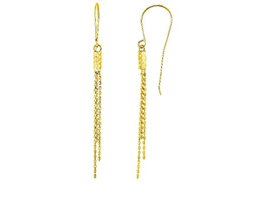 10kt Gold Yellow Finish Shiny+Diamond Cut Bead Drop Earring with Euro Wire Clasp