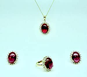 18K Yellow Gold plated Elegant set Ring, Earing and Necklace