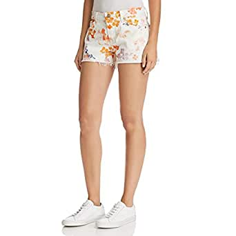 7 for All Mankind Womens Cut Off Shorts in Loft Garden - White - 32 3