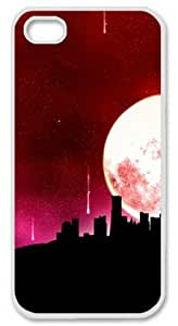 Iphone 5 5s PC Hard Shell Case Red Night White Skin by Sallylotus by runtopwell