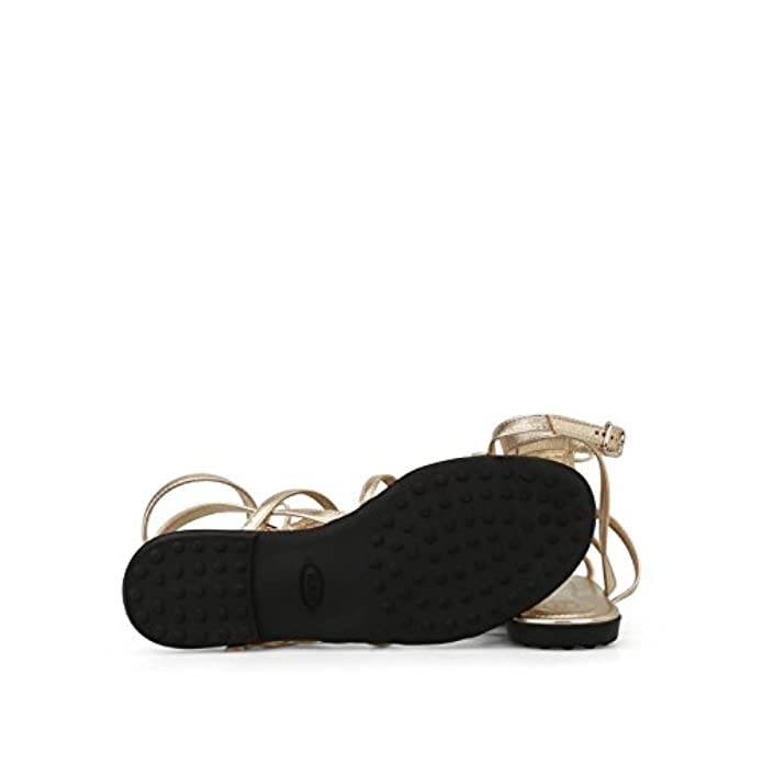 Scarpe E Borse Da Donna Sandali Tod's Dorati A Gabbia Con Frange Xxw0ov0y430nppg210 Giallo