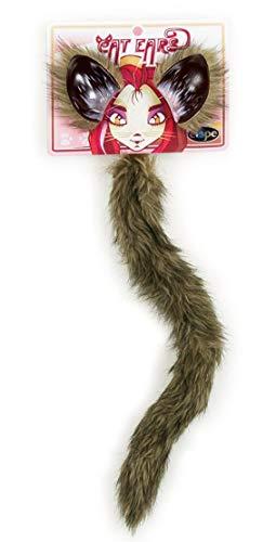 elope Cat or Fox Ears Elastic Headband & Tail Set for Women -