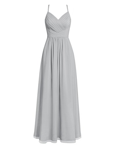 a284d13f81a XJLY A Line Spaghetti Strap Sleeveless Chiffon Long Wedding Bridesmaid  Dresses for Women Silver