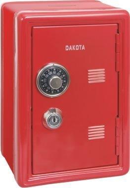 Caja fuerte roja hucha con llave y combinaci—n. Medidas 12x10x18cm