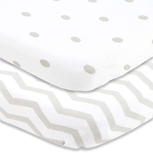 Cuddly Cubs Bassinet Sheets Set 2 Pack for Boys & Girls Soft & Breathable 100% Jersey Cotton | Fitted Elastic Design | Grey Dots & Chevron | Fits Oval Halo, Chicco Lullago, Bjorn, Ingenuity
