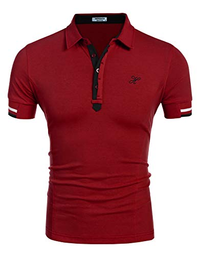 - Hotouch Men Short Sleeve Polo Shirt Ponceau M