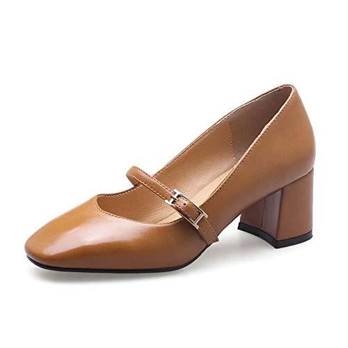 Tacchi Scarpe Poliuretano Donna QOIQNLSN Marrone Heel Chunky Bianco Molla Nero Brown Comfort Pu wAX1Wdq