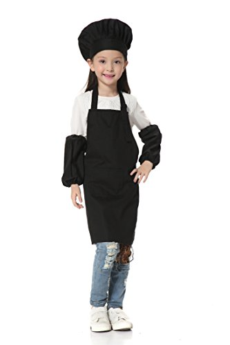 OSBEL Deluxe Child's Chef Hat Apron Set, Kid's Size, Children's Kitchen Cooking and Baking Wear Kit for those Chefs in Training (4-8 Years old(Height 3.45-4.1 ft), (Deluxe Chef Hat)