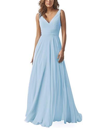 AlfaBridal Long Bridesmaid Dresses Double V Neck Chiffon Wedding Evening Gown Baby Blue US6