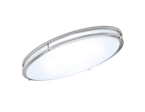 (Green Beam LED Light Fixture, Flush Mount Light Fixture, Brushed Nickel Light Fixture, Kitchen Light Fixtures, Bathroom Ceiling Light Fixture, 58W, 4000K Natural Light, 5000 Lumens, 32 Inch Oval)