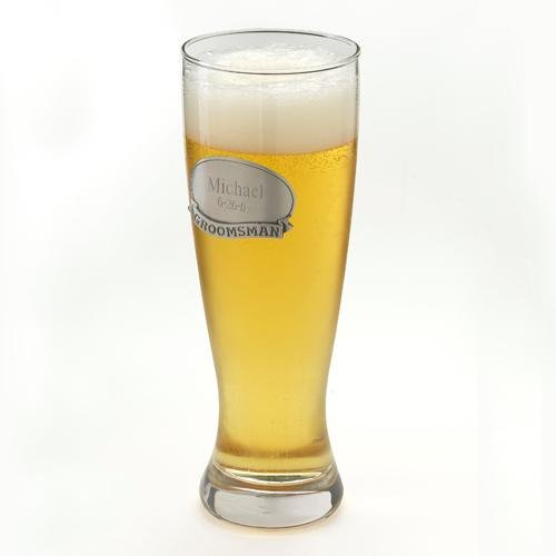 - Personalized 20 Oz. Grand Pilsner - Beer Glass With Engraved Pewter Medallion