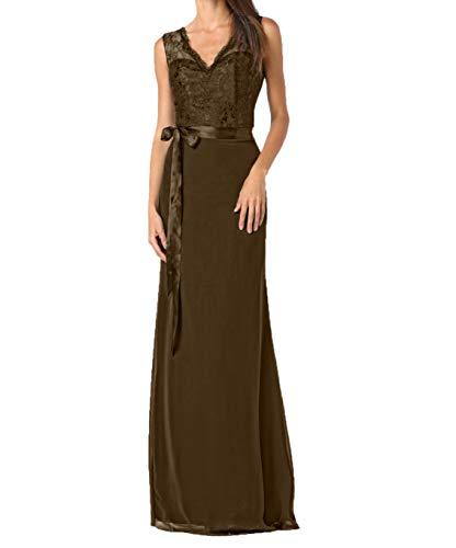 Braun Neu Abendkleider Braut Partykleider mit 2018 Etuikleider Ballkleider Hundkragen mia Spitze La Brautmutterkleider Elegant YOgw5tWq