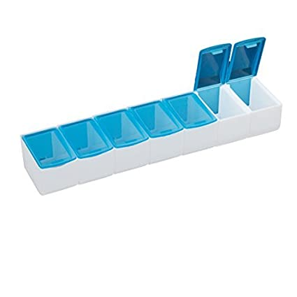 Blanco azul de plástico desmontables 7 ranuras mini Vinculado cuadro titular de almacenamiento - - Amazon.com