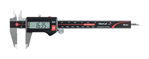 Mahr Federal 4103401 16 EWRi Digital Caliper, Integrated Wireless, IP-67, Range In/mm, 0-6'', 0.0005'' Resolution, Round Depth Rod, Thumb Wheel, Black/Red by Mahr Federal (Image #1)