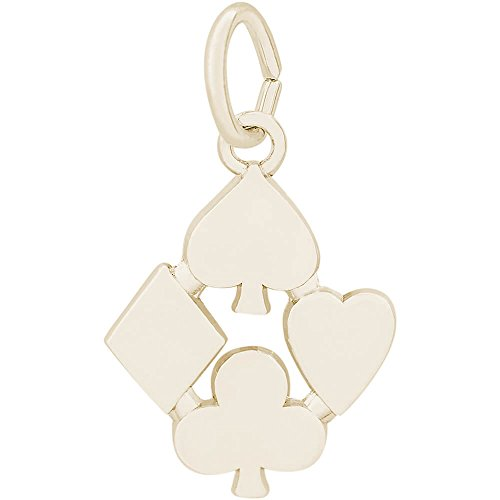 Rembrandt Charms Two-Tone Sterling Silver Playing Card Symbols Charm (15 x 13 mm)