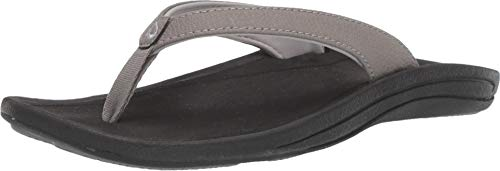 OLUKAI Women's Kulapa Kai Sandals, Fog/Black, 8 M - Embroidered Thong Open