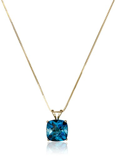 14k Yellow Gold Cushion Checkerboard London Blue Topaz Pendant Necklace (8mm) ()